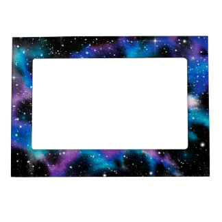 Space Art Watercolor Galaxy Photo Frame Magnets
