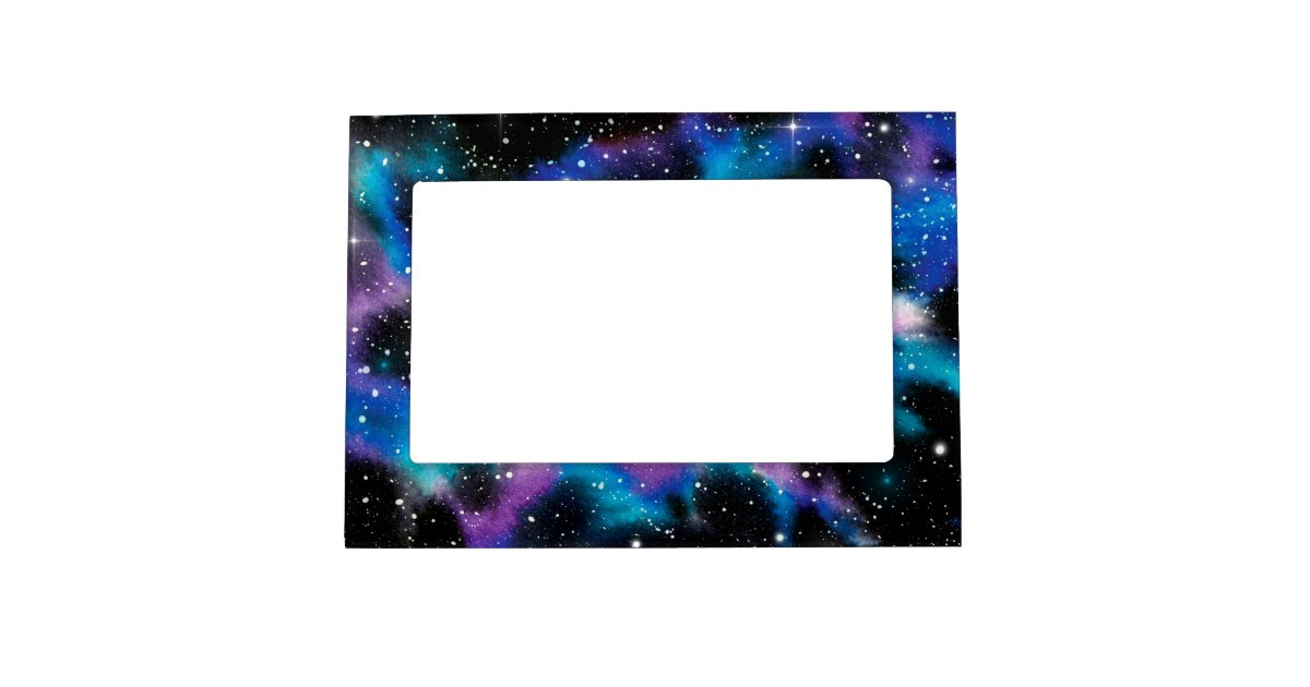 Space Art Watercolor Galaxy Magnetic Photo Frame Zazzle Com