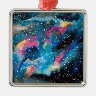Space Art Watercolor Galaxy Metal Ornament