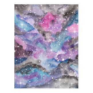 Space Art Watercolor Galaxy Postcard
