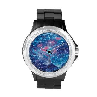 Space Art Watercolor Galaxy Watch