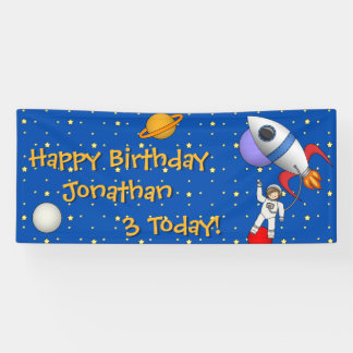 Space Astronaut Boys Birthday Party Banner