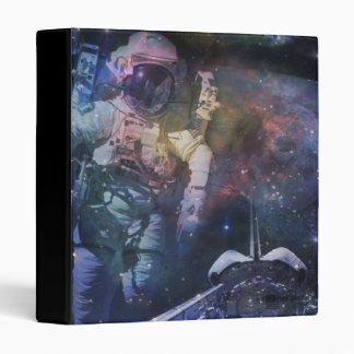 Space - Astronaut, Liftoff & Galaxy Collage 3 Ring Binder