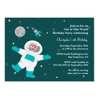 Space astronaut photo birthday party invitation