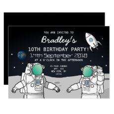 Space Astronaut Rocket Birthday Party Invitation