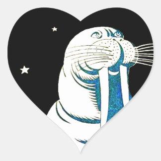 Space Astronaut Walrus Heart Sticker