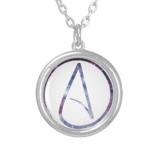 Space Atheist Symbol Round Pendant Necklace
