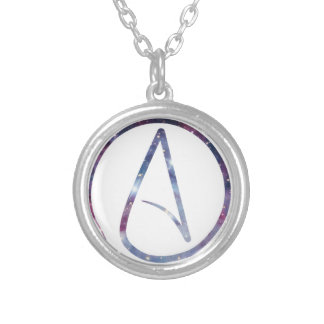 Space Atheist Symbol Silver Plated Necklace