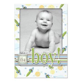 Space Baby Birth Announcement Card 5x7