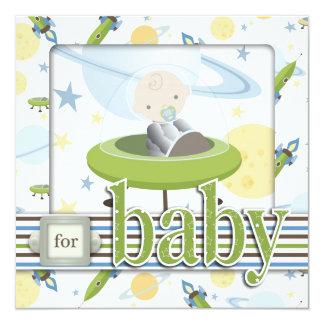 """Space Baby Square B 5.25"""" Square Invitation Card"""
