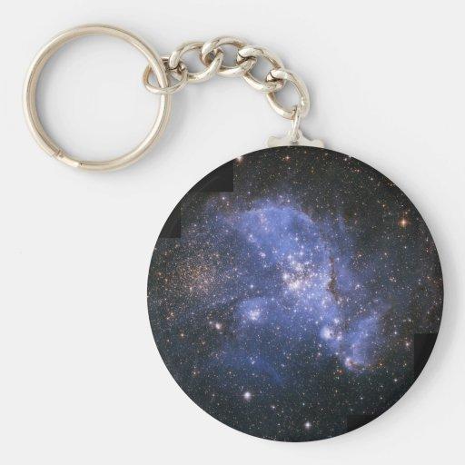 space basic round button keychain