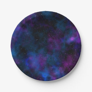 Space beautiful galaxy starry night image paper plate