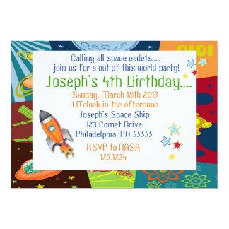 "Space Birthday Invitation 5"" X 7"" Invitation Card"