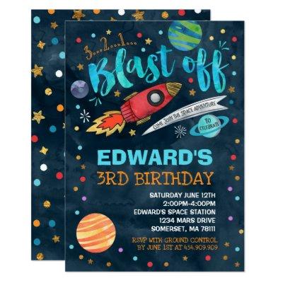 Outer Space Birthday Invitation Rocket Astronaut Zazzlecom
