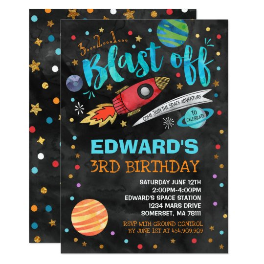 Space Birthday Invitation Outer Party