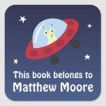 Space bookplate stickers with alien in spaceship