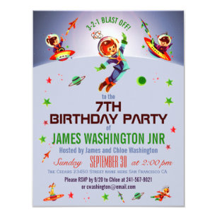 Space Boys 7th Birthday Party Invitation