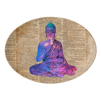 Space Buddha Vintage Dictionary Art Porcelain Serving Platter