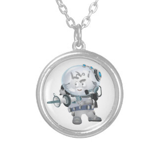 Space Bunny Silver Plated Necklace