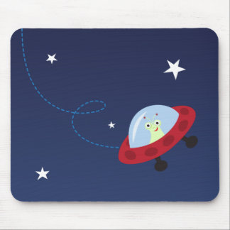 Space cartoon mousepad with cute, friendly alien