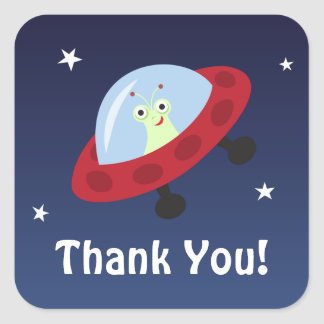 Space cartoon thank you stickers with cute alien