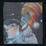 """Space Cat Bandana<br><div class=""""desc"""">This cat has the planets by a string. Original art by Wendy Hogue Berry</div>"""