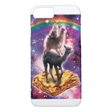 Space Cat Llama Alpaca Riding Lasagne iPhone 8/7 Case