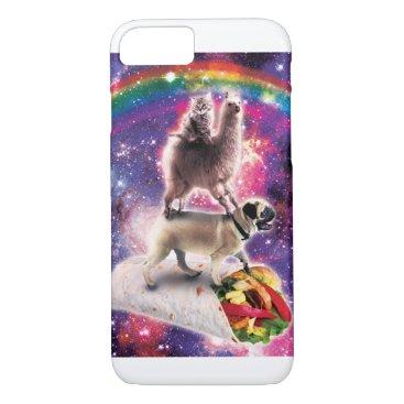 Space Cat Llama Pug Riding Burrito iPhone 8/7 Case