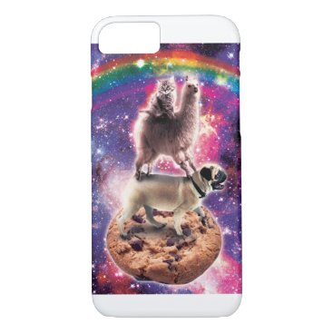 Space Cat Llama Pug Riding Cookie iPhone 8/7 Case