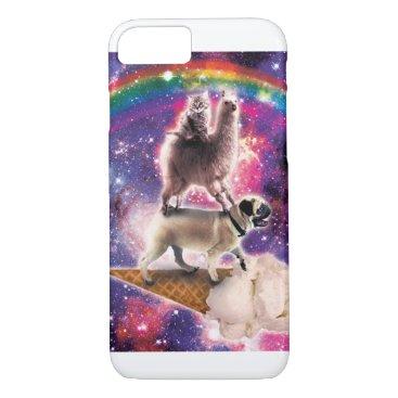 Space Cat Llama Pug Riding Ice Cream iPhone 8/7 Case