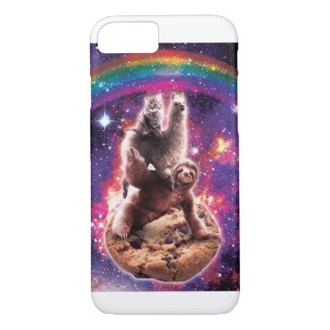 Space Cat Llama Sloth Riding Cookie iPhone 8/7 Case