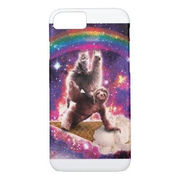 Space Cat Llama Sloth Riding Ice Cream iPhone 8/7 Case
