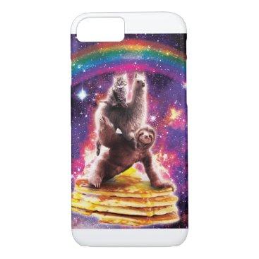Space Cat Llama Sloth Riding Pancakes iPhone 8/7 Case