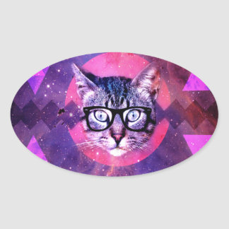 Space Cat Oval Sticker