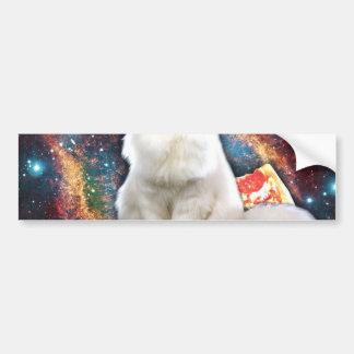 Space cat pizza bumper sticker