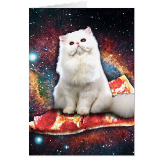 Space cat pizza card