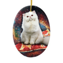 Space cat pizza ceramic ornament