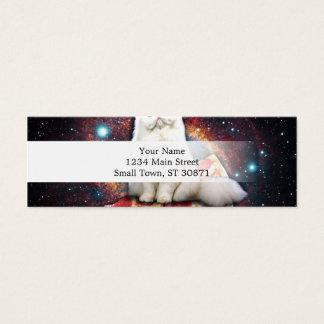 Space cat pizza mini business card