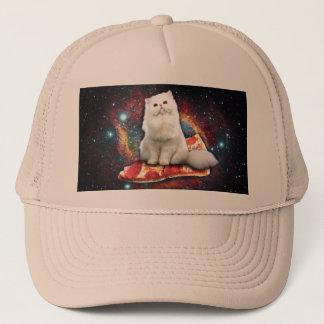 Space cat pizza trucker hat
