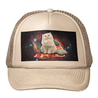 Space cat pizza trucker hat