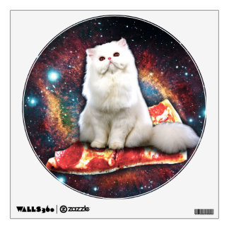 Space cat pizza wall sticker