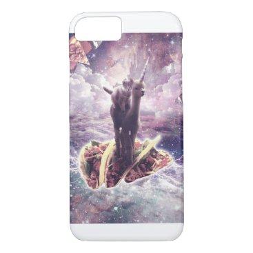 Space Cat Riding Alpaca Unicorn - Pizza & Taco iPhone 8/7 Case