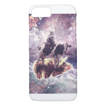Space Cat Riding Cow Unicorn - Pizza & Taco iPhone 8/7 Case