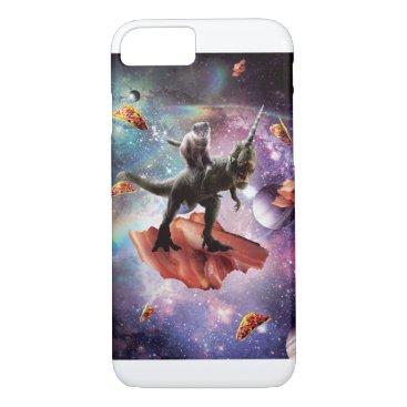 Space Cat Riding Dinosaur Unicorn - Bacon & Taco iPhone 8/7 Case