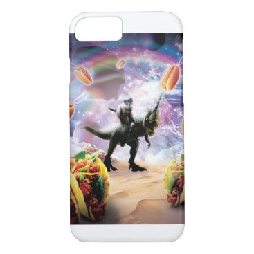 Space Cat Riding Dinosaur Unicorn - Hotdog & Taco iPhone 8/7 Case
