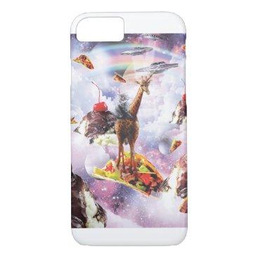 Space Cat Riding Giraffe - Ice Cream & Taco iPhone 8/7 Case