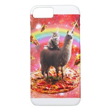 Space Cat Riding Llama Unicorn - Pizza & Taco iPhone 8/7 Case