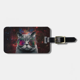 Space Cat Wearing Goggles in Front of the Galaxy Bag Tag