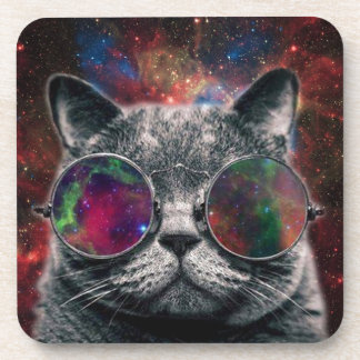 Space Cat Wearing Goggles in Front of the Galaxy Drink Coaster