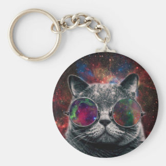 Space Cat Wearing Goggles in Front of the Galaxy Keychain